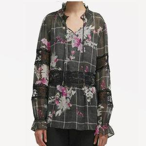 DKNY Large Gray Chiffon V Neck Lace Inset Top 3Y25
